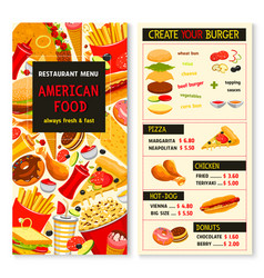 Menu for fast food meals snacks and drinks vector