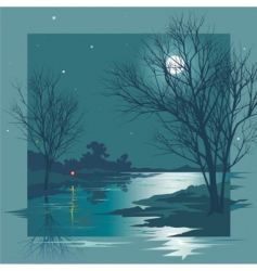 moonlit night vector image vector image