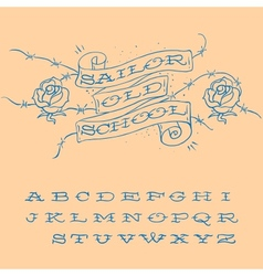 Old-school styled tattoo alphabet set vector