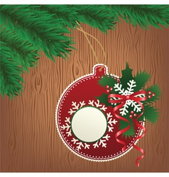 paper bauble wood background vector image vector image
