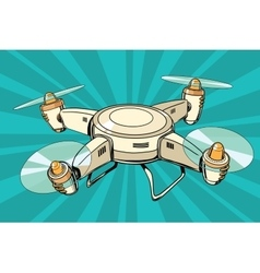 Quadcopter toy aircraft pop art vector