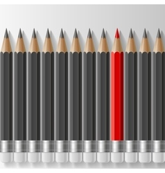 Row of dark grey pencils with one outstanding red vector