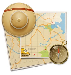 Safari map with hat vector