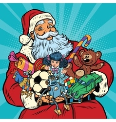 Santa claus with gifts rooster year vector