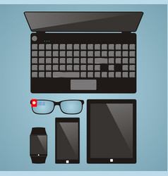 set of multimedia devices laptop smart glasses vector image