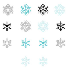 snowflake set blue and black color vector image vector image