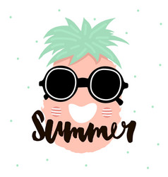 summer handwritten lettering cute pineapple with vector image vector image