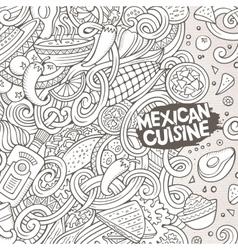 Cartoon mexican food doodles vector image