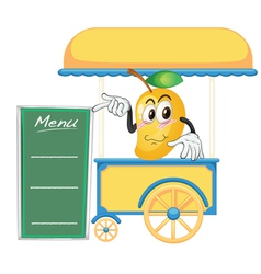 A cart stall and a mango vector