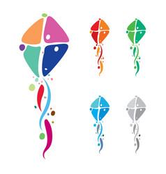colorful kites emblem design vector image