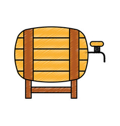 Fresh beer in barrel isolated icon vector