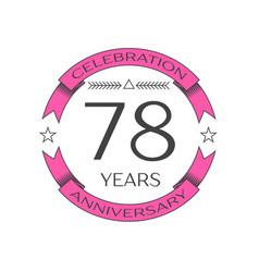 Seventy eight years anniversary celebration logo vector