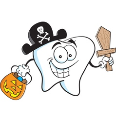 Cartoon tooth in pirate costume vector