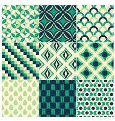 Seamless green retro pattern vector