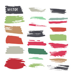 Grunge colorful ink paint strokes design elements vector