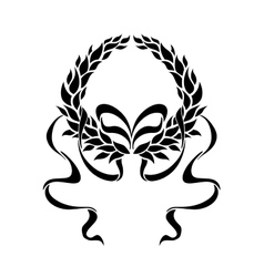 Foliate laurel wreath with long trailing ribbons vector image