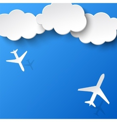 Abstract background with two airplanes and clouds vector