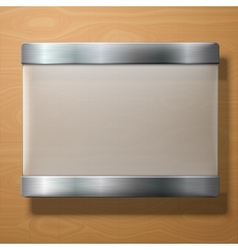 Frosted glass plate with metal holders on vector