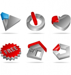 3d glossy icons vector image vector image