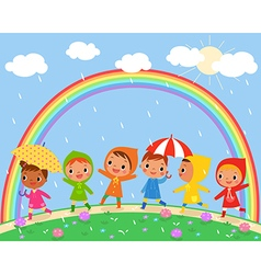 Children walk on a beautiful rainy day vector
