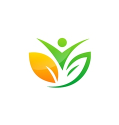 People vegetarian green leaf botany logo vector