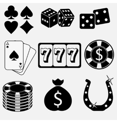 Gambling and casino flat icons vector