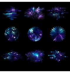 set of shiny mosaic elements vector image