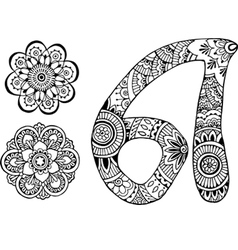 Letter a decorated in the style of mehndi vector