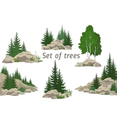Landscapes with trees and rocks vector