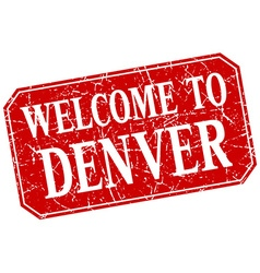 Welcome to denver red square grunge stamp vector