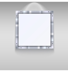 White plate with metal frame vector