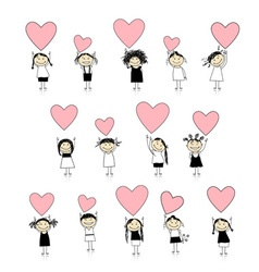 Cute girls with valentine hearts for your design vector