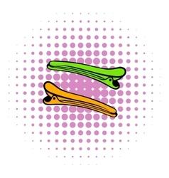 Barber barrette pin icon comics style vector