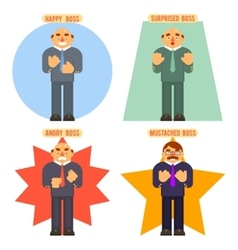 Boss avatar happy surprised mustache angry adult vector