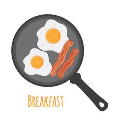 breakfast - egg bacon cartoon flat style vector image