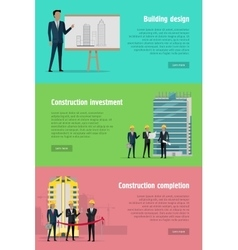 Building design construction investment completion vector