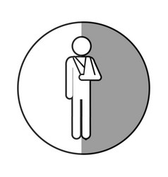 Circular frame shading with pictogram plastered vector