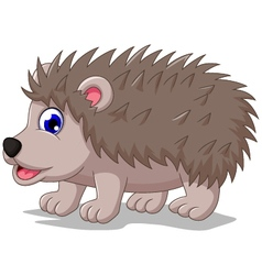 Cute hedgehog cartoon posing vector