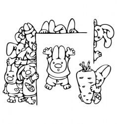cute rabbits vector image vector image