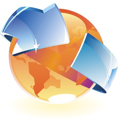 Earth orange and arrow vector image vector image