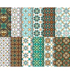 Ethnic national seamless patterns vector image
