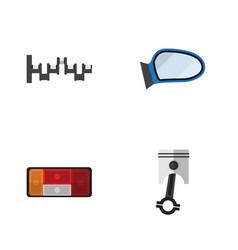 Flat icon auto set of headlight steels shafts vector