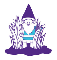 gnome coming out of the bushes on color sections vector image
