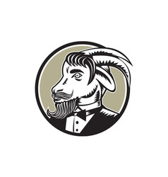 Goat beard tuxedo circle woodcut vector