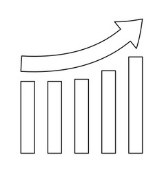 growing graph black color path icon vector image vector image
