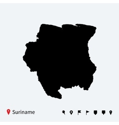High detailed map of suriname with navigation pins vector
