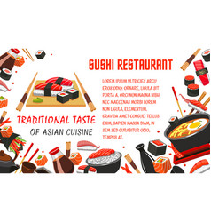 Japanese sushi restaurant banner of asian food vector