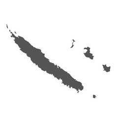 New caledonia map black icon on white background vector