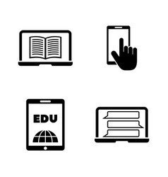 Online university simple related icons vector