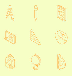 school outline isometric icons vector image